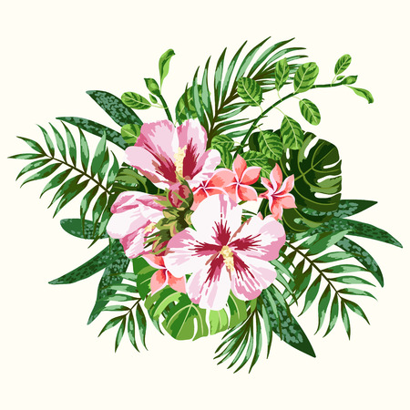 pink plumeria: Bouquet of tropical flowers and leaves. Plumeria, hibiscus, monstera, palm. Vector illustration.