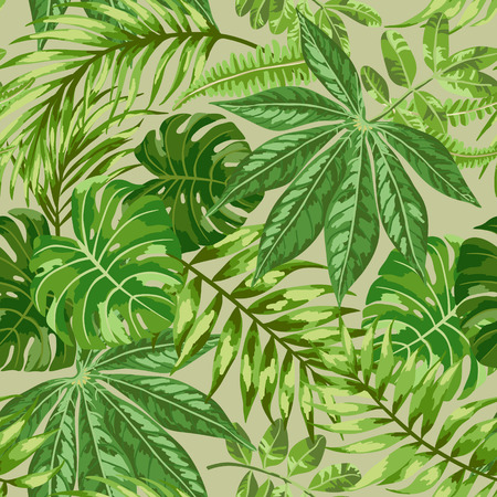 Seamless exotic pattern with tropical leaves on a beige background. Vector illustration.