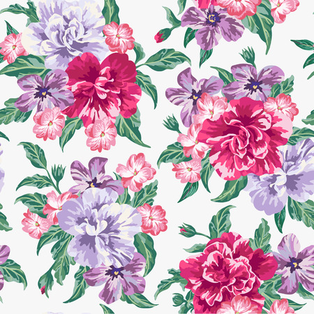Seamless exotic pattern with tropical leaves and flowers on a white background. Vector illustration. Иллюстрация