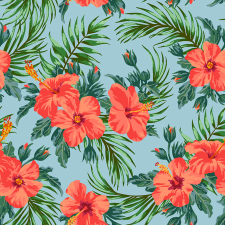 Seamless exotic pattern with tropical leaves and flowers on a white background. Hibiscus, palm. Vector illustration. Ilustração