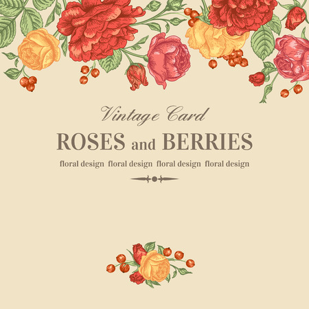 yellow roses: Vintage wedding invitation with red and yellow roses on a beige background. Vector illustration.