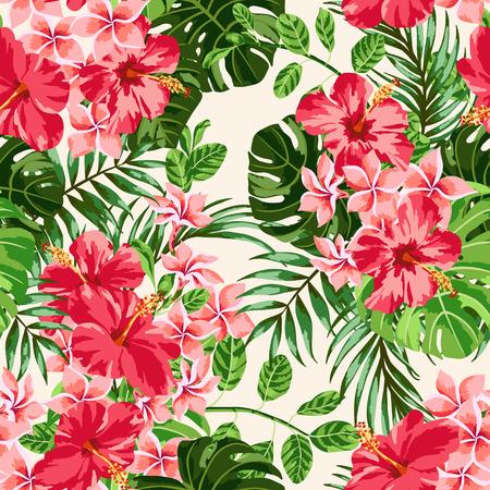 hibiscus: Modelo inconsútil exótico con hojas tropicales y flores sobre un fondo blanco. Plumeria, hibisco, monstera, palma. Ilustración del vector.