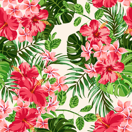 Seamless exotic pattern with tropical leaves and flowers on a white background. Plumeria, hibiscus, monstera, palm. Vector illustration. Ilustracja