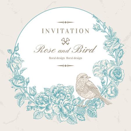 Bella cornice vettoriale con rose e uccelli in stile vintage. Progettazione di nozze. Corona floreale. Archivio Fotografico - 40210121