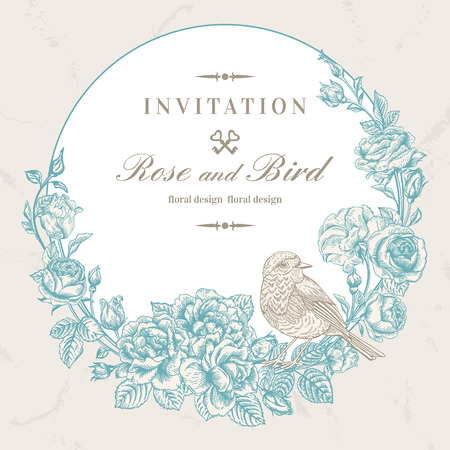 Beautiful vector frame with roses and bird in vintage style. Wedding design. Floral wreath.