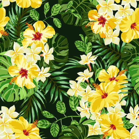 熱帯の葉と黒の背景の上に花のシームレスなエキゾチックなパターン。プルメリア、ハイビスカス、モンステラ、パーム。ベクトルの図。