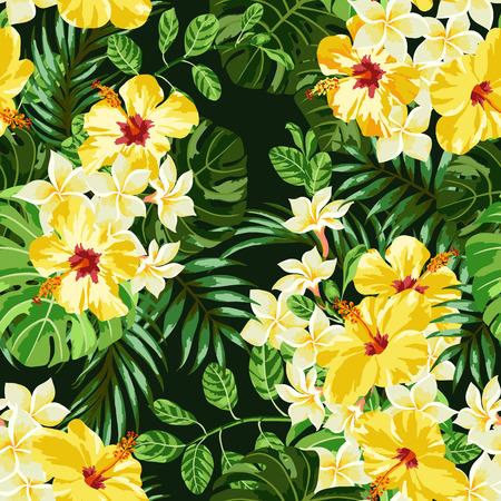 검정색 배경에 열대 잎과 꽃과 원활한 이국적인 패턴입니다. 메리아, 히비스커스, 몬스 테라, 팜입니다. 벡터 일러스트 레이 션.