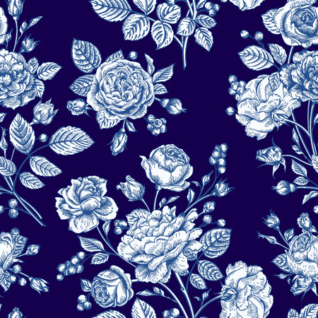 Beautiful seamless rose pattern on a blue background. Vector illustration. Vector