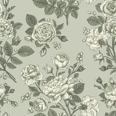 rosas negras: Seamless vector patr�n de la vendimia con las rosas.