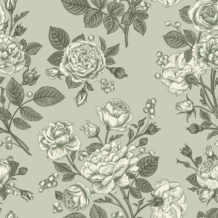 gray flower: Vintage vector seamless pattern with roses. Illustration
