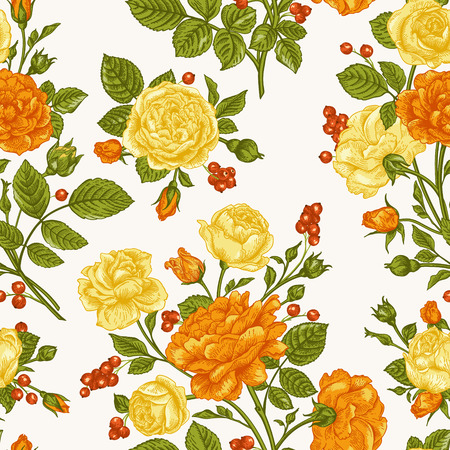 gele rozen: Beautiful seamless pattern with orange and yellow roses and berries on a white background. Vintage vector illustration. Stock Illustratie