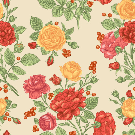 Beautiful seamless pattern with orange and yellow roses and berries on a beige background. Vintage vector illustration.