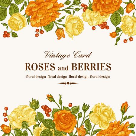 오렌지와 흰색 배경에 노란색 장미와 빈티지 웨딩 초대장입니다. 벡터 일러스트 레이 션.