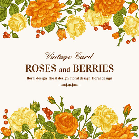 Vintage wedding invitation with orange and yellow roses on a white background. Vector illustration.