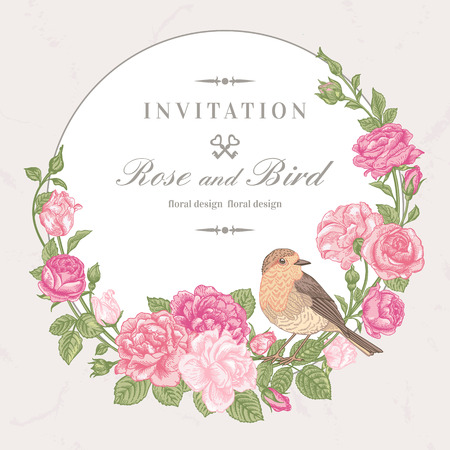 Beautiful vector frame with pink roses and birds in vintage style. Ilustração