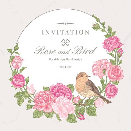 jardines con flores: Marco del vector hermosa con rosas de color rosa y aves en el estilo vintage. Vectores