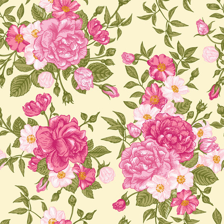 Romantic seamless pattern with pink roses on a light background. Vector illustration. Vector