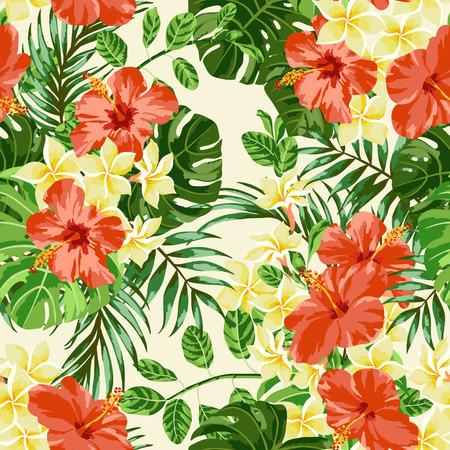 hibiscus: Modelo inconsútil exótico con hojas y flores tropicales. Plumeria, hibisco, monstera, palma. Ilustración del vector.