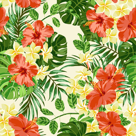 Seamless exotic pattern with tropical leaves and flowers. Plumeria, hibiscus, monstera, palm. Vector illustration.