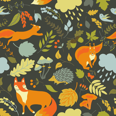 Vector floral seamless pattern with cute forest animals: squirrel, fox, hedgehog. Forest plants, leaves, mushrooms, berries and animals. Illustration