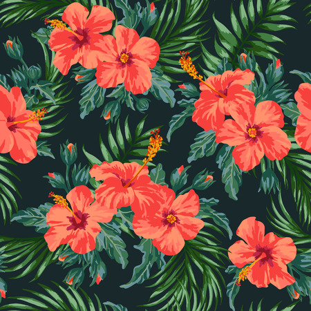 Seamless exotic pattern with tropical leaves and flowers on a black background. Hibiscus, palm. Vector illustration.