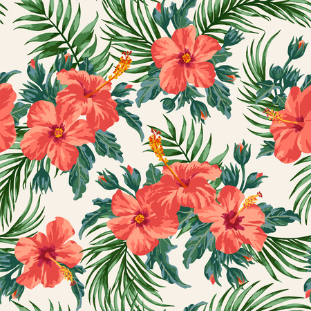 Seamless exotic pattern with tropical leaves and flowers on a white background. Hibiscus, palm. Vector illustration. Vettoriali