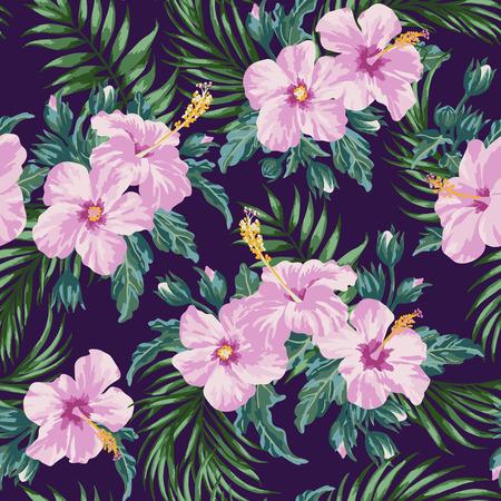 검정색 배경에 열대 잎과 꽃과 원활한 이국적인 패턴입니다. 히 비 스커 스, 팜입니다. 벡터 일러스트 레이 션.