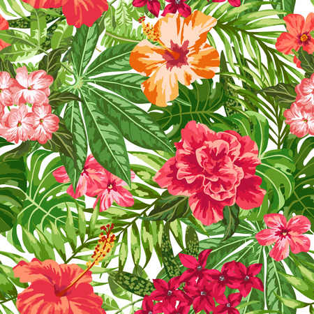 Seamless exotic pattern with tropical leaves and flowers on a white background. Plumeria, hibiscus, monstera, palm. Vector illustration. Vettoriali