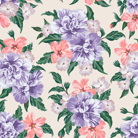 pink flower background: Seamless exotic pattern with tropical leaves and flowers on a light background. Vector illustration. Illustration