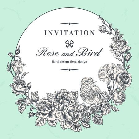 Mooie vector ronde frame met rozen en vogels in vintage stijl.