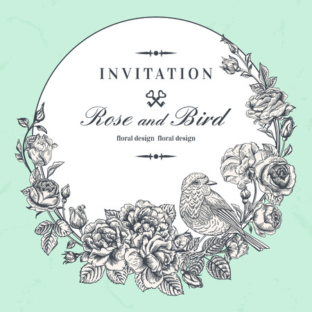 Beautiful vector round  frame with roses and bird in vintage style. Illustration