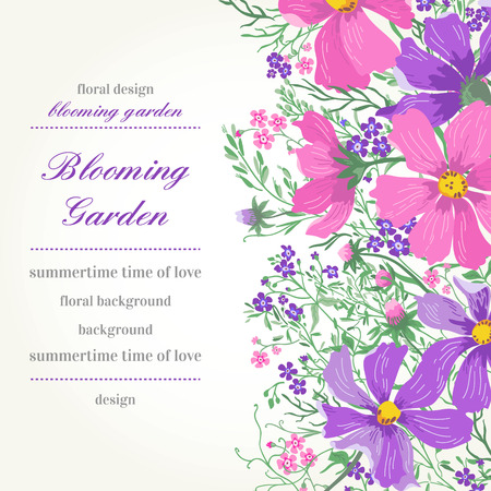 Vector card with flowers. Garden daisies and forget-me-not.