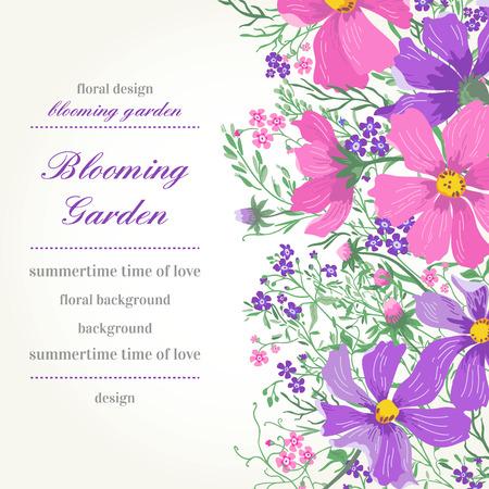borde de flores: Tarjeta del vector con flores. Margaritas del jardín y olvidar-me-not.