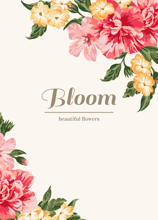 Vintage wedding invitation with colorful flowers. Vector illustration. Banco de Imagens - 40226688