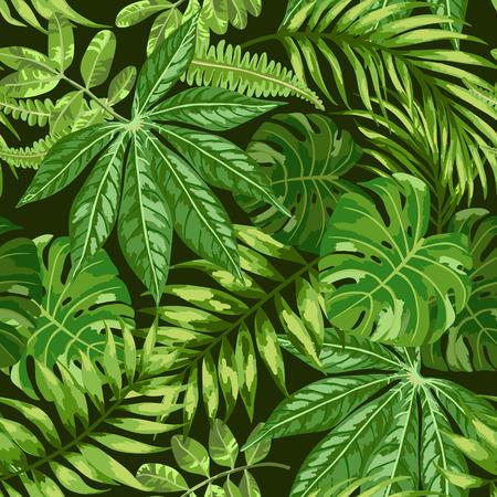 fruta tropical: Modelo inconsútil exótico con hojas tropicales sobre un fondo negro. Ilustración del vector. Ilustración del vector.