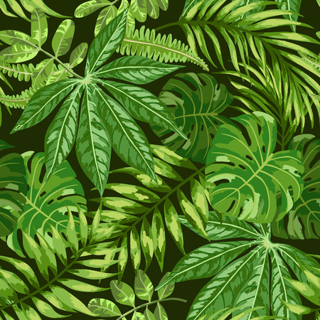 tropical leaves: Seamless exotic pattern with tropical leaves on a black background. Vector illustration. Vector illustration.