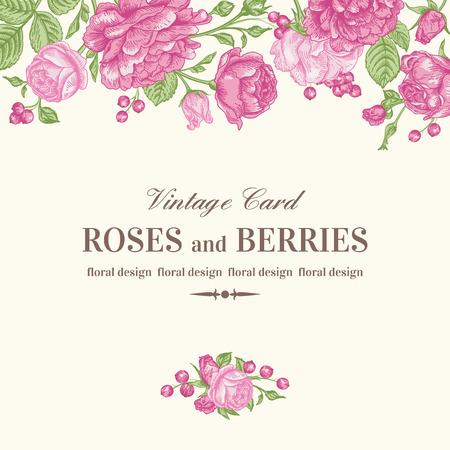 Vintage wedding card with pink roses on a light background. Vector illustration.