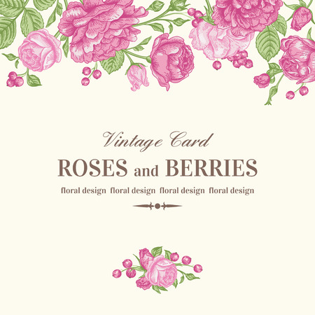 Vintage wedding card with pink roses on a light background. Vector illustration.
