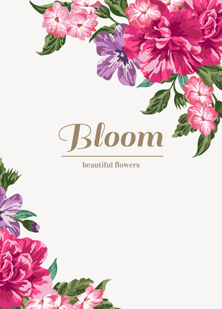 Invitation de mariage de cru avec des fleurs colorées. Vector illustration. Vecteurs