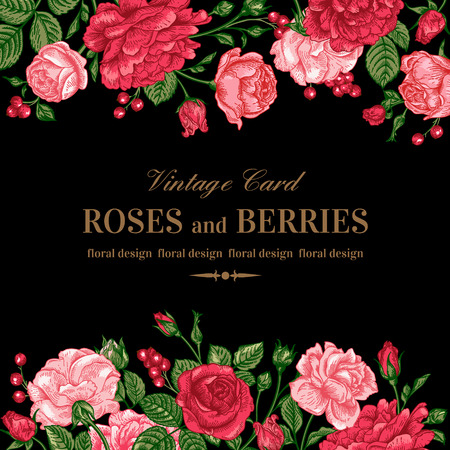 검은 배경에 핑크와 붉은 장미와 빈티지 웨딩 초대장입니다. 벡터 일러스트 레이 션.
