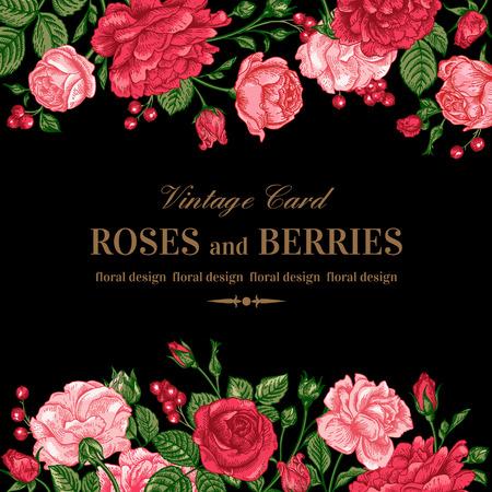 rosa negra: Invitación de la boda de la vendimia con las rosas rosadas y rojas sobre un fondo negro. Ilustración del vector.