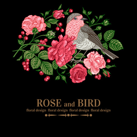 Vintage vector background with roses and bird on a black background.