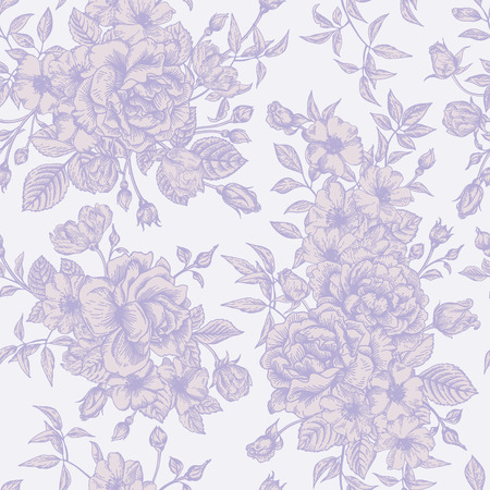 Vintage vector seamless pattern with roses. Vector