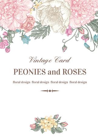 dessin fleur: Vintage carte floral avec des fleurs de jardin. Pivoines, roses, pois de senteur, Bell. Romantique fond. Vector illustration. Illustration