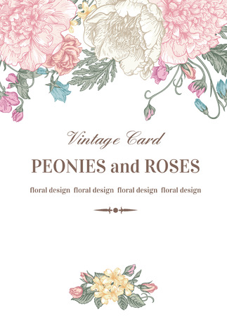 design frame: Vintage floral card with garden flowers. Peonies, roses, sweet peas, bell. Romantic background. Vector illustration. Illustration
