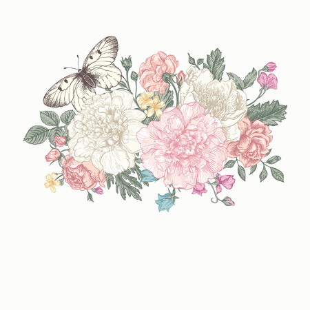 Floral background. Card with a bouquet of flowers and a butterfly. Peonies, roses, buttercups, peas.