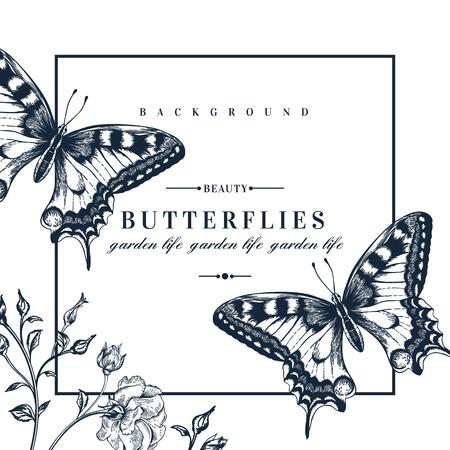 rosa negra: Tarjeta del vector con las mariposas y las flores.