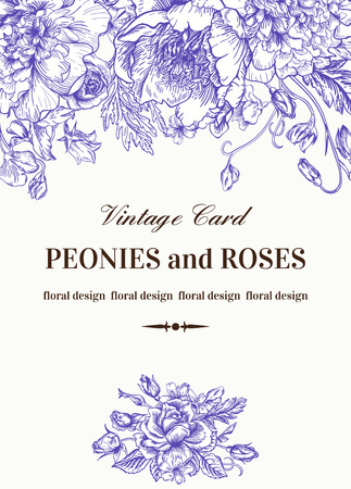 garden peas: Vintage floral card with garden flowers. Peonies, roses, sweet peas, bell. Romantic background. Vector illustration. Illustration