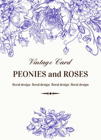fondo elegante: Vintage tarjeta floral con las flores del jard�n. Peon�as, rosas, guisantes de olor, campana. Fondo rom�ntico. Ilustraci�n del vector.