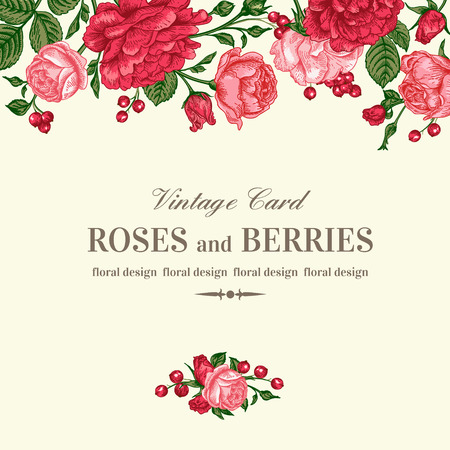 berry: Vintage wedding invitation with pink and red roses on a light background. Vector illustration.